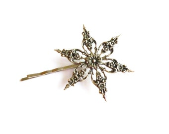 Silver Snowflake Bobby Pin Snow Flake Hair Clip Bride Bridal Bridesmaid Holiday Frozen Christmas Winter Accessories Womens Gift For Her