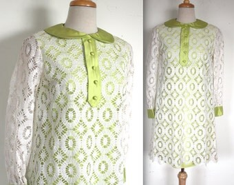 Vintage 1960's Dress // 60s Lime Green and White Lace Mod Dress // Take a Girl Like You //  DIVINE