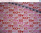 Valentine's fabric with glitter hugs and kisses X's and O's love cotton quilting sewing material by the yard