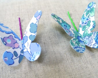 Set of Two Butterfly Hair Grips in Liberty of London ~ Blue & Green ~ FREE UK DELIVERY