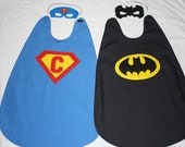 Special Listing for Carrie, REVERSIBLE Batman and Personal Superhero Cape, Mask, and Cuffs