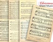 more CHRISTMAS CAROLS Sheet Music - Digital Paper Pack - 7 Christmas Songs Vintage Piano Music  -Instant Download Digital Printable Papers