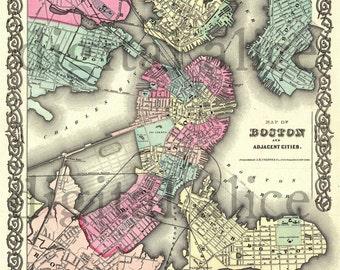 Vintage BOSTON MASSACHUSSETTS MAp - Old Map 1855 Bean Town Boston-  Instant Download Digital Printable Map