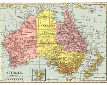 Vintage MAP of AUSTRALIA-  Instant Download Digital Printable- Old Antique Australian Map 8.5 x 11 plain and aged