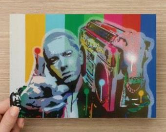 Eminem quality mini print of original painting,stencil art,spray paint,hip hop,music,Detroit,America,postcard,rap,art,pop culture,card,radio