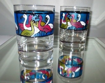 Flamingo High Ball Glass Cocktails Hand Painted