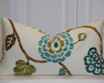 """DOUBLE SIDED - Fit 12"""" x 22""""  IKAT Floral - Decorative Pillow Cover - Teal Blue Green - Brown - Olive"""