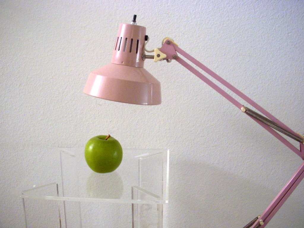 Vintage pink industrial floor lamp cantilever floor lamp for Vintage pink floor lamp