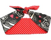 Vintage Inspired Reversible Neck scarf or Head scarf, Valentines Day, Hearts, Love