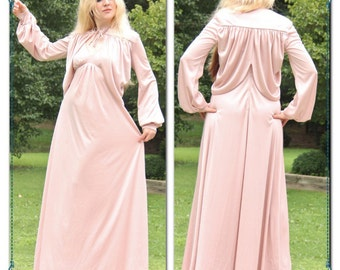 70s 60s YSL Paysanne Victorian Dress & Coat lot rose Pink Bishop sleeve Gypsy MAXI Wedding