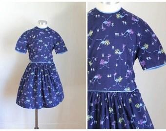 vintage 1940s little girl's dress - STORK bird novelty print dress / 8-9yr
