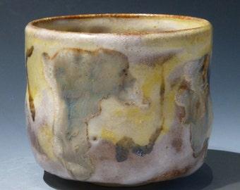 Yunomi Japanese Style Tea Cup Beautiful yellow, grey, white and brown design work. George Watson