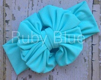 Aqua Messy Bow Head Wrap