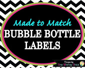 BUBBLE BOTTLE LABELS - Made to Match Any Theme in Our Store - Fast Turnaround
