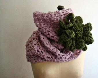 Dusty Pink Crochet Cowl Infinity Scarf, Huge Flower Pin Brooch