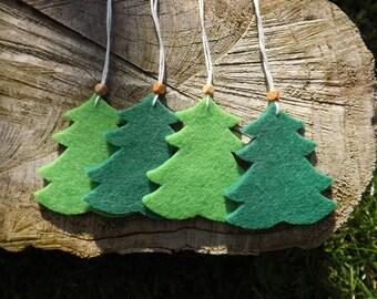 Pine Tree Gift Tags, Pine Tree Parcel Tags, Felt Gift Tags, Pine Tree Gift Tags, Set Of Gift Tags, Christmas Decorations, Pine Tree Decor