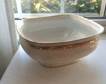 Vintage Limoges Gold TrimServing Bowl 1890-1900 D Co France R Delinieres & Cie