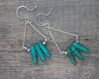 Turquoise Earrings, Boho Jewelry, Unique Jewelry, Rock and Roll Jewelry, Gift for Her