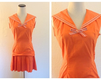 Vintage 1960's Orange Retro Sailor Mini Dress! Small/Extra Small