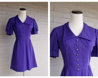 Vintage 1960's Purple Mod Scooter Mini Dress Size Small S