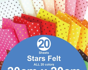 ALL 20 Printed Stars Felt Sheets - 20cm x 20cm per sheet (S20x20)