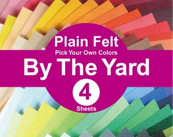 4 YARDS Plain Felt Fabric - pick your own colors (A1y)