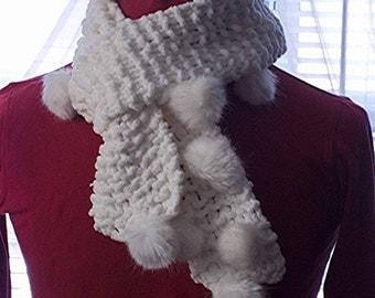 White Pom Pom Scarf  pompom scarf Knit for Women