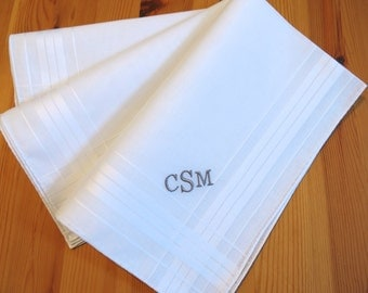 Set of 3 Fine Cotton Mens Monogrammed Handkerchiefs Style No. 2030