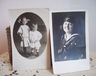 antique RPPC antique postcards children siblings 1904 -1918 Arvilla and Kenneth Red River Valley
