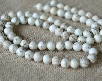 100pcs 4mm Magnesite Natural Gemstone Beads 16 Inches White