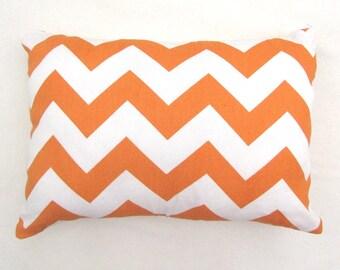 Decorative Throw Pillow Orange and Cream Chevron Throw Pillow-