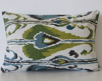 Robert Allen Ikat Bands Rain ivory green brown ikat decorative pillow cover