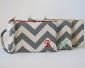 Monogram Wristlet Wallet, CUSTOM COLORS, Zipper Pouch, Personalized Holiday Gift For Her, Embroidered iPhone Pouch, Chevron,