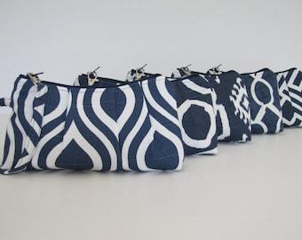 Set of 7 Bridesmaid Gift Idea, Bridesmaid Wristlet Clutch , NAVY Collecton, Gift Idea, Customize Your Set
