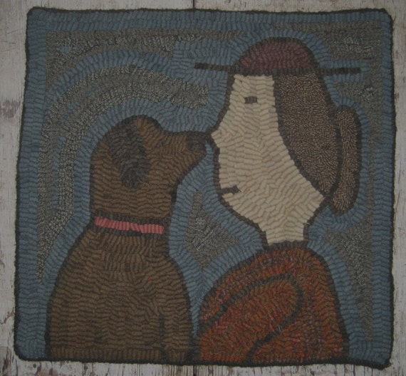 Dog Eating Wool Rug: Primitive Rug Hooking Pattern-Nose To Nose