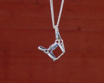 Halter Horse Pendant Sterling Silver with Chain Equestrian Jewelry Horse Necklace Equestrian Pendant
