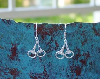 CZ Snaffle Bit Earrings Sterling Silver,Equestrian Earrings,Horse Jewelry