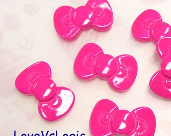 10 Ribbon Bow Lucite Cabochons.Fuchsia.