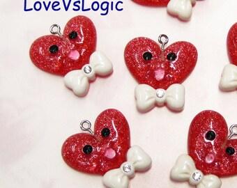 4 Smiling Glitter Heart with Bow Lucite Charms. Glitter Dark Orange Tone