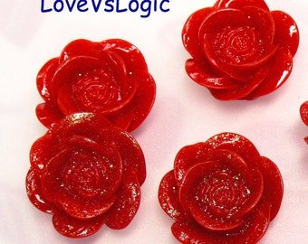 10 Glitter Flower Lucite Cabochon. Dull Red Tone