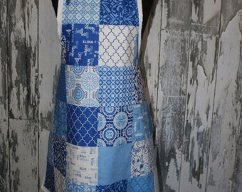 Ladies Apron, Women, Spa, Moda, Knotty Apron, Patchwork, Quilt,Blue, White