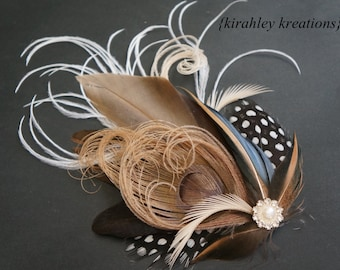 Taupe Beige Peacock Guinea Feather Bridal Bride Rustic Wedding Hair Clip Hairpiece Ivory Blue CAMILLE Fascinator Pearl Rhinestone Button