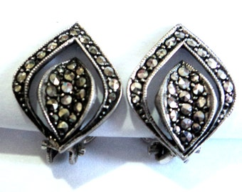 Marcasite Sterling Earrings... c.1950s Clip On