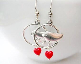 Birds Dangle Earrings,Birds with Heart Earrings,Valentine's Day Jewelry, Valentine Jewelry