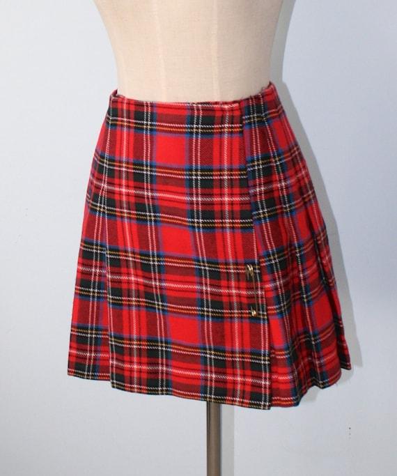 vintage plaid pleated kilt skirt 60s 70s plaid mini skirt