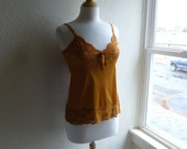 Camisole 32/34 Small Topaz Gold Yellow Glam Garb Handmade USA Romantic Tank Top Victorian Steampunk Vintage Hand Dyed Rockabilly Boho Hippie