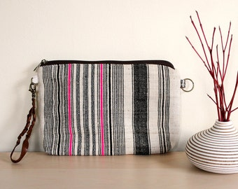 ON SALE!! Handwoven Clutch Purse Bag - Zippered with Woven Leather Handle - 2015 Thai Textiles Collection