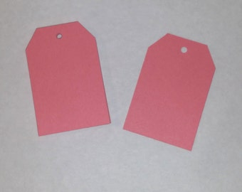 Salmon Pink Tags, Gift Tags, Decorative Tags, Blank Tags, craft destash, destash, sale