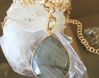 Large labradorite pendant/ tear drop bezel labradorite 14k gold filled necklace  / Labradorite bezel set necklace
