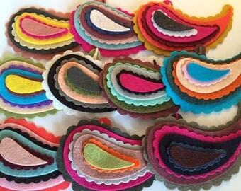 "Wool Felt Paisleys 60 total - Sizes 1 1/2"" -  4"" Random Colored. *stock image, please read details 3410"